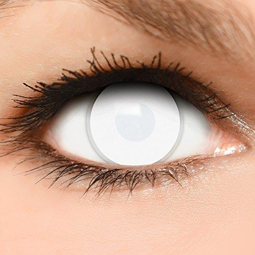Farbige Kontaktlinsen Dead Zombie in komplett weiß 60% Sehvermögen + Kombilösung + Behälter - Top Linsenfinder Markenqualität, 1Paar (2 ()
