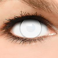 Farbige Kontaktlinsen  Dead Zombie  in komplett weiß 60% Sehvermögen + Kombilösung + Behälter - Top Linsenfinder Markenqualität, 1Paar (2 Stück)
