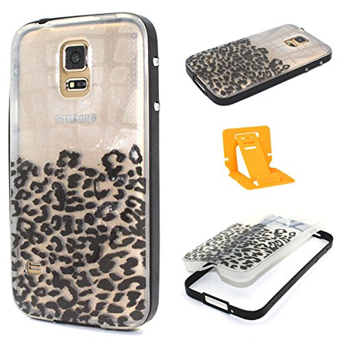 Coque Samsung Galaxy S7 Edge Silicone, Ekakashop 2 in 1 Hybrid PC Bumper et Soft Souple TPU Silicone Gel Protection Housse etui Case Cover pour Samsung Galaxy S7 Edge [smile] + 1x cartes gratuites se  léopard