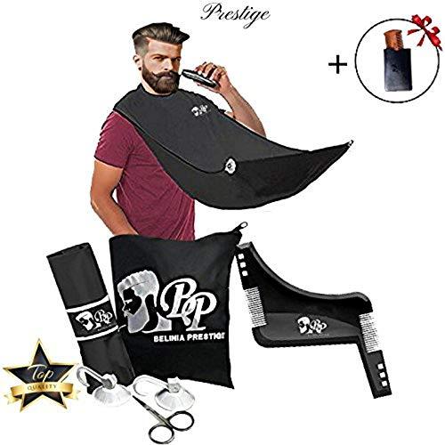 Kit de rasage complet, Bavoir à barbe avec 2 Ventouses + 1 peigne contour barbe symétrique + 1 Peignes à Barbe/Moustache et son étui OFFERT + 1 Sac de rangement et 1 paire de ciseaux (Kit)