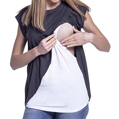 Maglietta per l'allattamento elegante - feixiang® t-shirt da donna camicie e casacche da premaman camicia da donna per maternità camicia a doppio strato con maniche avvolgibili (grigio scuro, m)