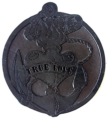 """Glas Untersetzer """"True Love"""", Schwarzbraun glossy, handgearbeitet aus 100% echtem Vintage Leder, Kreisdurchmesser ist 11cm"""