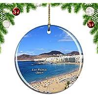 Weekino España Playa de Las Canteras Las Palmas Decoración de Navidad Árbol de Navidad Adorno Colgante Ciudad Viaje Colección de Recuerdos Porcelana 2.85 Pulgadas