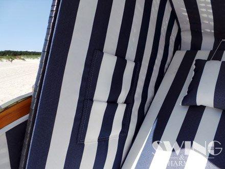 Strandkorb XXL – Luxusstrandkorb – aus Holz und Polyrattan (Blau) - 5