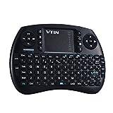 Tastiera Mini Wireless VTIN Tastiera 2.4GHz con Layout Italiano, Tastiera Senza Fili con Touchpad Telecomando Batteria, Compatibile con Windows, Sistemi Android, Mac OS, Linux, per Android Smart TV Box, Media Box, Desktop, Laptop, Mini PC, TV, Tablet PC, Nero immagine