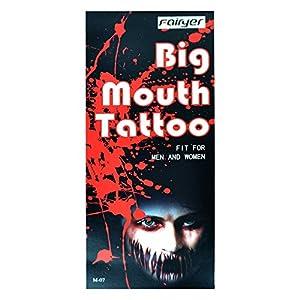 Gifts 4 All Occasions Limited SHATCHI-1422 - Tatuaje temporal de boca grande para disfraz de Halloween, fiesta de disfraces de zombies M-07, multicolor