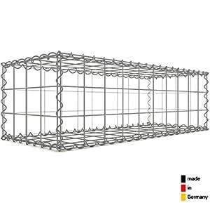 Steinkorb-Gabione eckig, Maschenweite 10 x 10 cm, Tiefe 40 cm, Spiralverschluss, galvanisch verzinkt (100 x 30 x 40 cm)