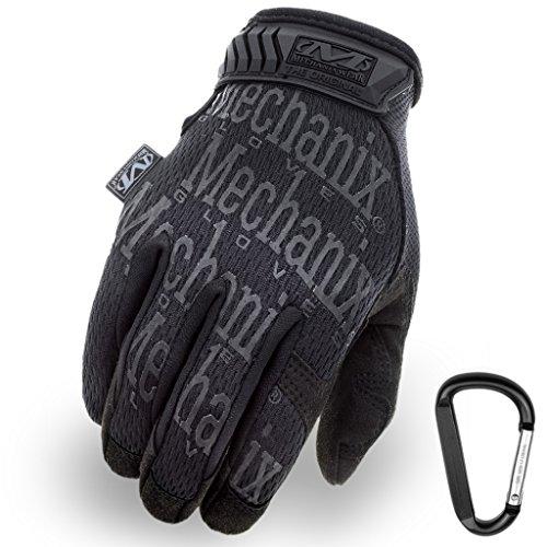 MECHANIX WEAR ORIGINAL Einsatz-Handschuhe, atmungsaktiv & abriebfest + Gear-Karabiner, Original Glove in Schwarz, Coyote, Multicam / Größe S, M, L, XL (XL, Schwarz / Covert)