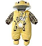Minetom Bambino Unisex Jumpsuits Caldo Pagliaccetto Incappucciato Abbigliamento Per Bambini Giallo 4-6 Mesi