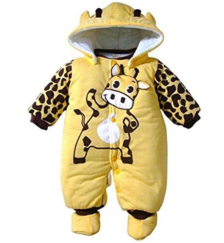 Unisex-strampelanzug (Minetom Baby Mädchen Jungen Unisex Jumpsuits Warm Strampelanzug Mit Kapuze Overall Für Kinder Gelb 0-3 Monate)