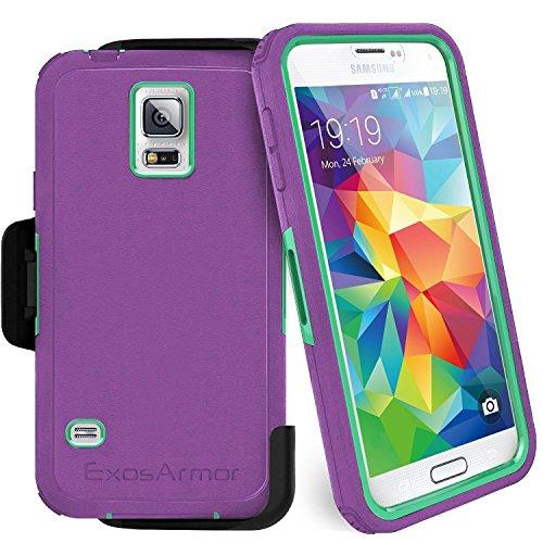 Encased Samsung Galaxy S5 Exos Armor Tough Case & Belt Clip (Quick-Release Design) (Purple/Teal) (Galaxy Belt S5 Clip Case Samsung)