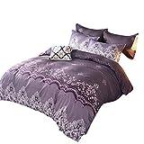 MISSMAO Bettwäsche Set Bettbezug mit Retro Europäische Damast Muster Super Weiche Atmungsaktive Mikrofaser Bettwäsche mit Reißverschluss mit Kissenbezug,Violett,260x230cm