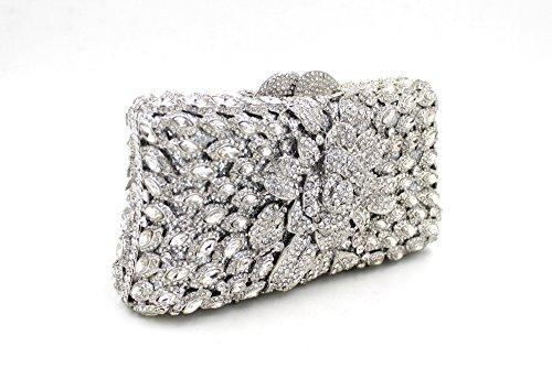 Damen-Abendessen Set Strass Diamanten und Diamanten High-End-Diamant-Wallet Glänzende Handtasche Bankett Silver