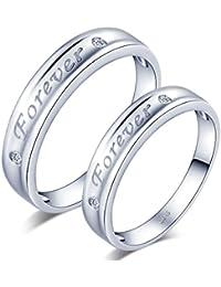Infinite U simple Forever grabado plata de ley 925circonita cúbica pareja/los amantes de los de banda anillo Juego de Anillos de regalo de boda promesa de compromiso aniversario, tamaño de anillo j-v
