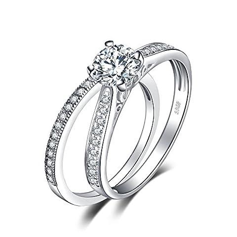 JewelryPalace 1.26ct Magnifique Bagues de Fiançailles Femme Alliance Mariage Anniversaire Amour 2 Anneaux en Argent Sterling 925 en Zircon Cubique de Synthèse CZ Taille