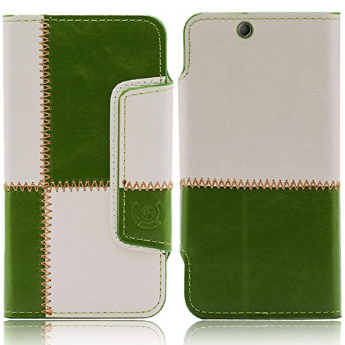 Sony Xperia Z Ultra Hülle, numia Schutzhülle Case [Book-Style Handytasche mit Standfunktion & Kartenfach] PU Leder Tasche für Sony Xperia Z Ultra Cover [Naht-Muster Grün-Weiss]