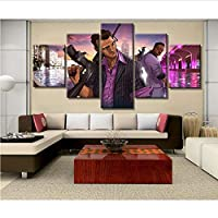 mmbj 5 Piece Canvas Art GTA Game Poster Painting Canvas Wall Art Picture Home Decoration Living Room Canvas Painting 30x40cmx2 30x60cmx2 30x80cmx1