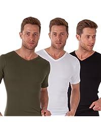 Celodoro - Lot de 3 T-shirts élégants avec col en V - 100 % coton peigné pré-rétréci - homme - disponible en différents coloris et tailles S à 3XL