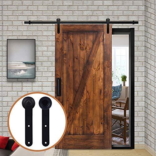 LWZH 10FT(305cm) Beschlagset für Schiebetür des Getreidespeichers, im amerikanischen Stil, für Einzeltüren/Doppeltüren geeignet (schwarze,Rund förmige Schiebetürbeschlag)