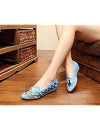Chnuo Frühling Sommer damen bestickte schuhe aus Gestickte Schuhe Sehnensohle ethnischer Stil weibliche Tuchschuhe Mode bequem Tanzschuhe denim blue 35