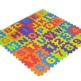jannyshop 36 Pcs Alphabet Numéro Non Toxique EVA Puzzle Mousse Tapis Enfants Sécurité Plancher, 6.1'× 6.1'