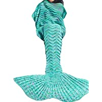 iiniim Handcrafted maglia sirena coda coperta morbida Crochet Sacco a pelo per bambini ragazzi adulti, Verde, for Adults