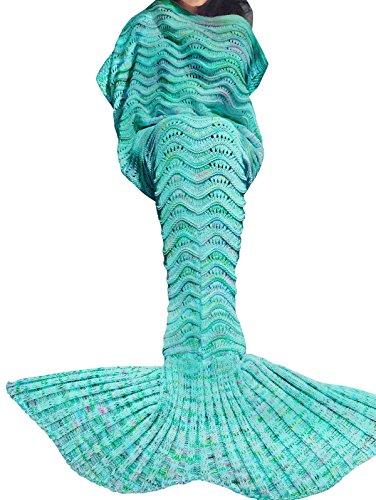 YiZYiF Meerjungfrau Decke Handgemachte Strickmuster Schlafsack Decken Blanket Mermaid Kostüm für Kinder Mädchen Damen (Für Damen, Grün)