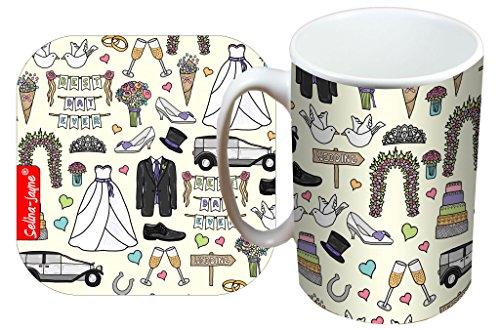 Selina-Jayne Wedding Tag Limited Edition Designer Becher und Untersetzer-Set