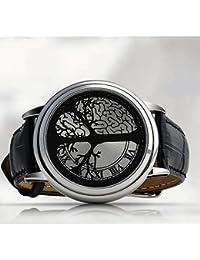 Gleader Reloj LED Pantalla Tactil Hibrida Azul Material Acero Inoxidable Diseno Elegante, Con Llevaro de Clase Alta, Banda de Cuero, Soporta Pantalla Tactil