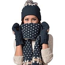 Vimeet Damen Warme Winter Mütze Schal Handschuh Set Wintermütze Gestrickt Beanie Mütze Wollmütze Strickmütze Earflap Hut Kappe Schnee Hüte Skimütze Schneeflocke