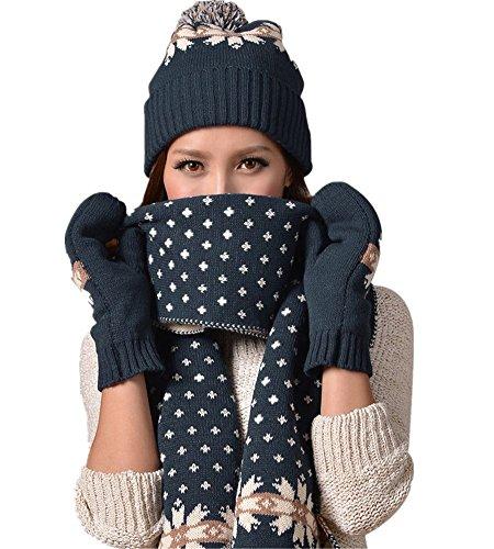 Vimeet Damen Warme Winter Mütze Schal Handschuh Set Wintermütze Gestrickt Beanie Mütze Wollmütze Strickmütze Earflap Hut Kappe Schnee Hüte Skimütze Schneeflocke Navy Blau