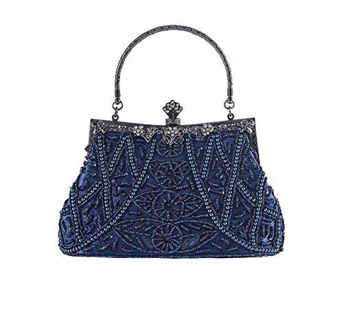 Donne Moda Tempo Libero Multicolore Borsette Bordados De Cuentas Cheongsam Retro Novia Paquete De La Dama De Honor Blue
