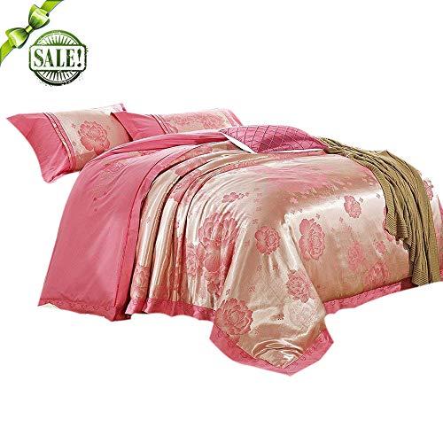 FenDie Stickerei Muster Kopfkissen Lucky Blumen Bedruckt 3-teiliges Bettbezug Sets-Luxury Komfort, weiches Smooth, frisch, Haut, Satin, Rose Gold, King(1 Duvet Cover + 2 Pillow Shams) -