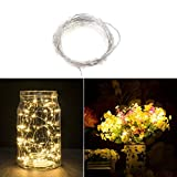 LEDMOMO Fairy String Lights Kupfer Draht String Lights 50 LEDs Batterie betrieben mit Fernbedienung für Weihnachten Hochzeit Dekoration (Warm White Light)