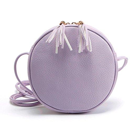 Umhängetasche,Amlaiworld Frauen Mädchen Runde Leder Handtasche Umhängetasche Messenger (lila) (Drucken Mini-handtasche Make-up)