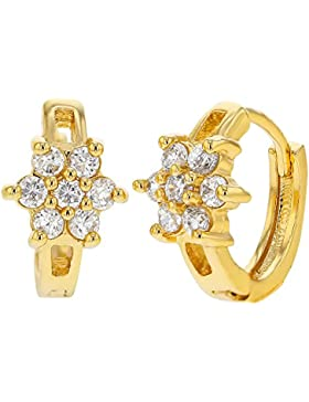 In Season Jewelry Kinder - Creolen Ohrringe Kleine Blume 18k Vergoldet Weiß Kristall