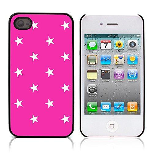 Graphic4You Sterne Muster Design Harte Hülle Case Tasche Schutzhülle für Apple iPhone 4 und 4S (Schwarz) Neon Rosa