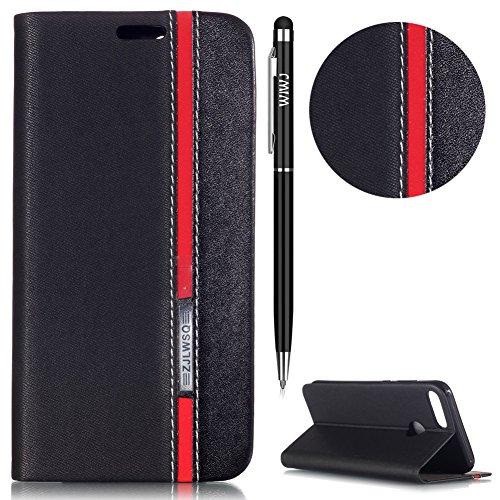 WIWJ Huawei Honor 9 Lite Hülle,Huawei Honor 9 Lite Leather Handyhülle, Handyhülle Wallet Case[Ton-Serie Tricolor Ledertasche] Schutzhüllen für Huawei Honor 9 Lite-Schwarz + Schwarz (+ Roter Streifen) Serie Ledertasche