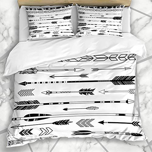 Soefipok Bettwäschesets White Bow Cute Hipster ArReihen Vintage Ink Native American Indian Aztec Bogenschießen Design Feder Mikrofaser Bettwäsche mit 2 Pillow Shams