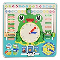 Wooden Calender Clock, Kids All About Today Calendar Board My First Clock Cognitive Toy for Toddlers Boys and Girls 3 Year Olds +