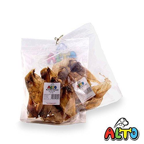 Alto-Petfood - 20 Stück XL - Rinderohren | Natur luftgetrocknet | ohne Lockstoffe - wiederverschließbarer Beutel / Naturkauartikel, Hundeleckerli, Hunde Kausnack, Tierohren, Kauartikel, Rind, Ohren, RO20