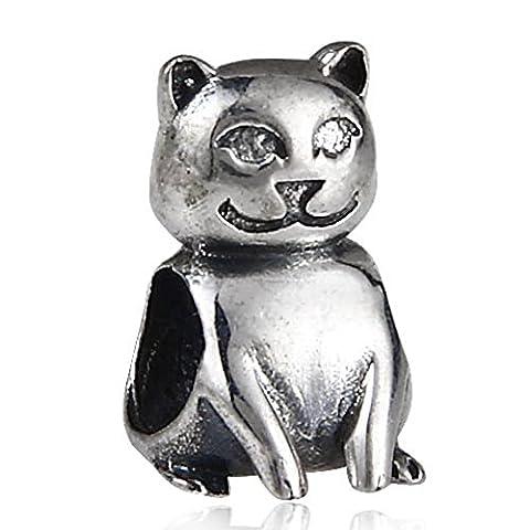 soulbead véritable Argent Sterling 925chat assis Animal Perles pour bracelet Charms européens