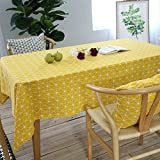 Asvert Nappe de Table Rectangulaire en Coton et Lin Imperméable Nappe Anti-Taches Style Moderne pour Table à Manger Terrase Sallon Jardin Pique-Nique, Jaune (140x180 cm)