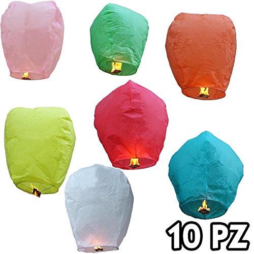Sky Lantern 10 PEZZI Lanterne lanterna cinese cinesi Volanti MONGOLFIERA COLORATE matrimonio party feste