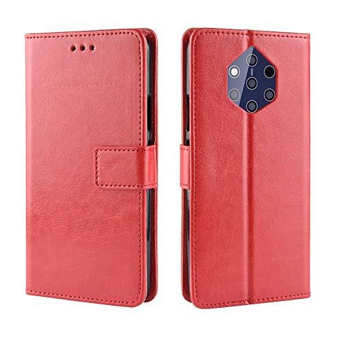 AXRXMA Gaga Pferd Muster Textur Schutz Flip Kunstleder Brieftasche Stil Handy Hülle mit Brusk Sling für Nokia 9 PureView (Farbe : Rot)