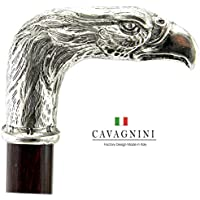 CAVAGNINI Walking Sticks and Canes Gift Custom. in Color (Black/Brown), Lenght (until 38 inches), Rubber Tips/Ferrules, Engrave. Eagle Handle Pewter Wooden Elegance for Women or Men. From Italy
