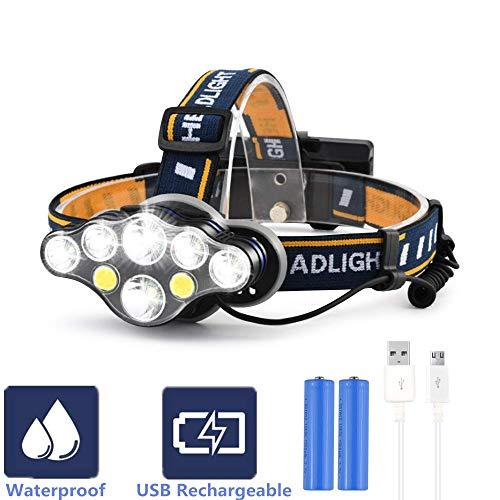 Lampe de tête, Aokebeey LED frontale Rechargeable USB 6000 lumens Lumière 8 modes Lampe torche frontale Tête étanche pour Camping, Course, Spéléologie, pêche, cyclisme