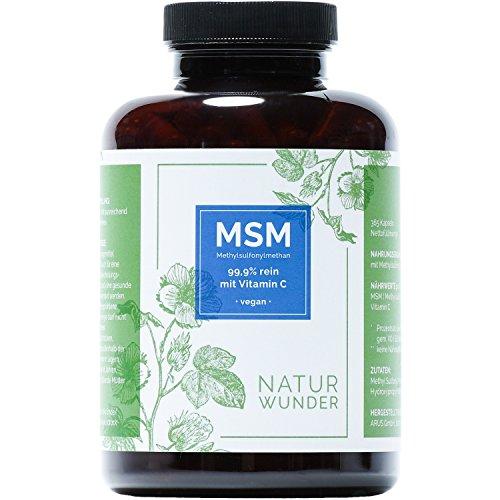 Einführungspreis - NATUR WUNDER |MSM - Methylsulfonylmethan |99.9% rein mit Vitamin C | 365 Kapseln |6 Monatsvorrat | 1200mg MSM pro Tagesdosis | Vegan und hochdosiert | Premiumqualität |Hergestellt in Deutschland