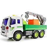 Mamum Jouet à friction pour enfants Camion poubelle Effets sons et lumières 6 roues 1:16 Taille unique C