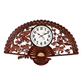ZML Chinese Wooden Fan Mute Retro Wall Clock Creative Fashion Living Room Quartz Clock Bedroom Personality Simple Large-scale Wall Charts